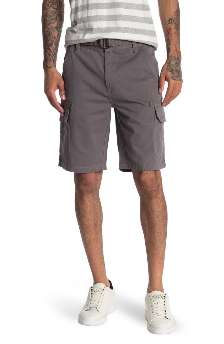 BEACH BROS Belted Utility Cargo Shorts, Main, color, GREY