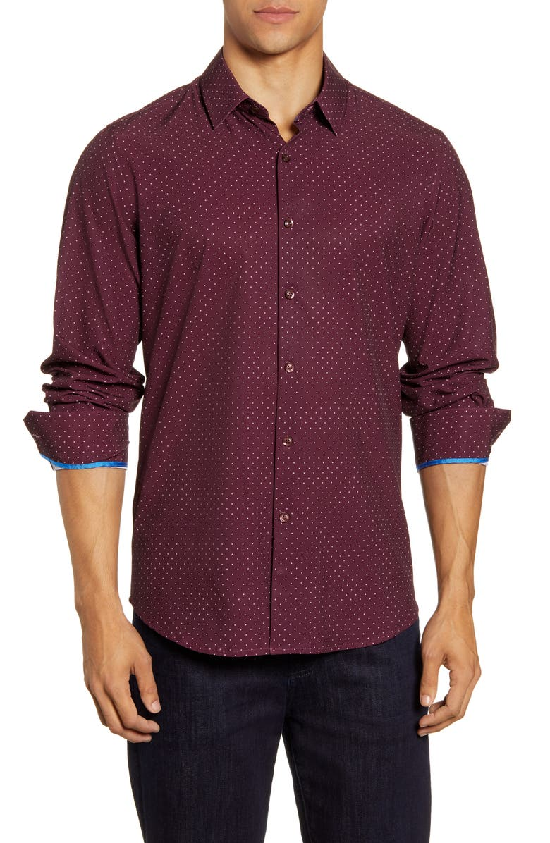MOVE PERFORMANCE APPAREL Dot Button-Up Shirt, Main, color, 930