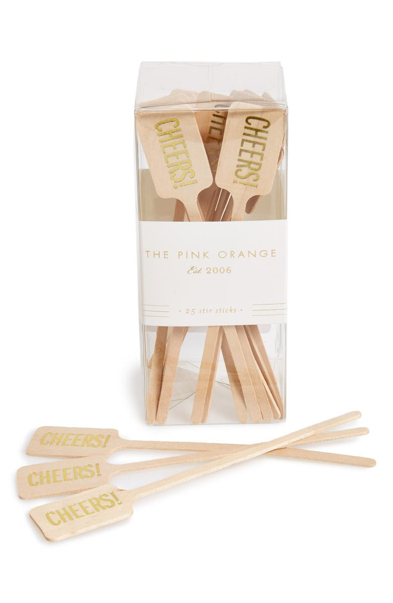 THE PINK ORANGE 'Cheers' Wood Stir Sticks, Main, color, 250