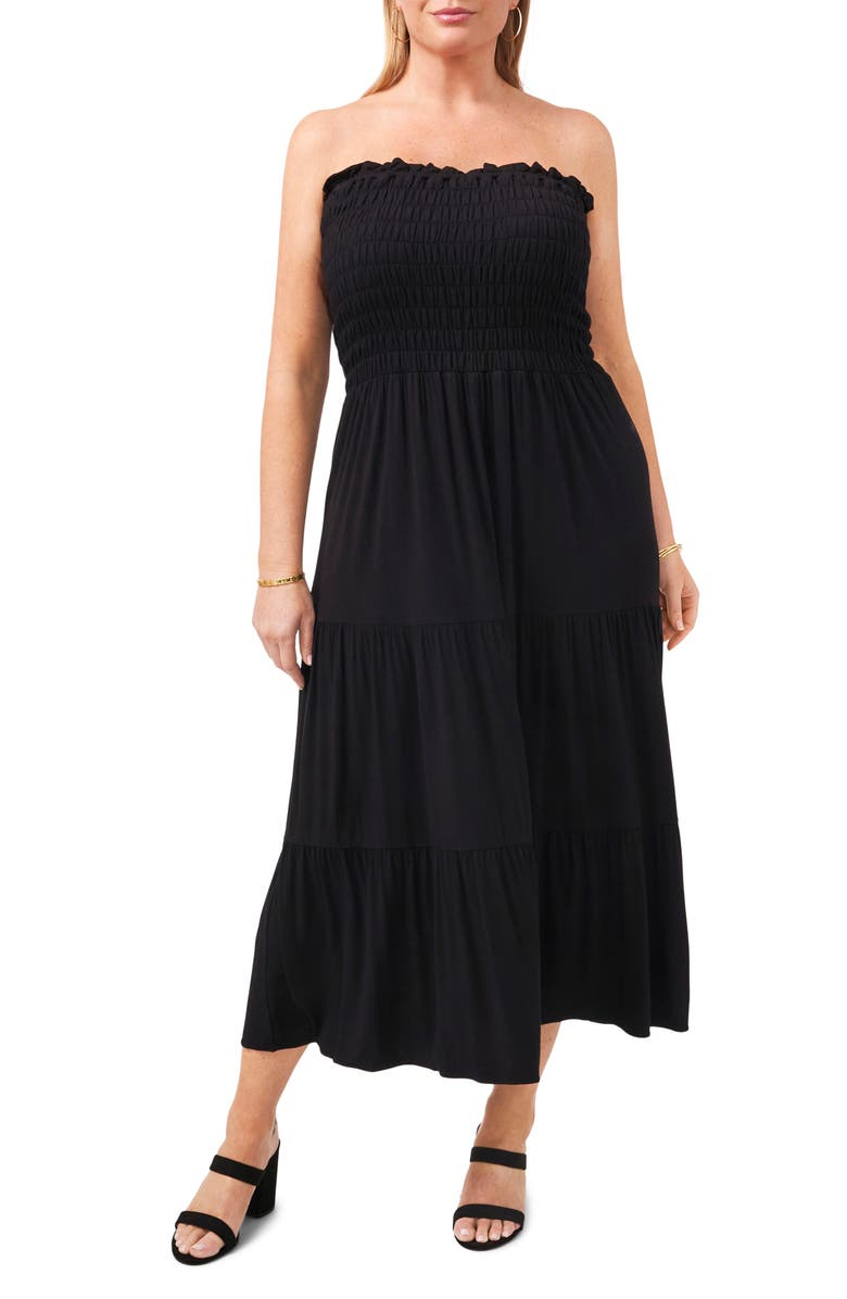 1.STATE Strapless Jersey Maxi Dress, Main, color, RICH BLACK