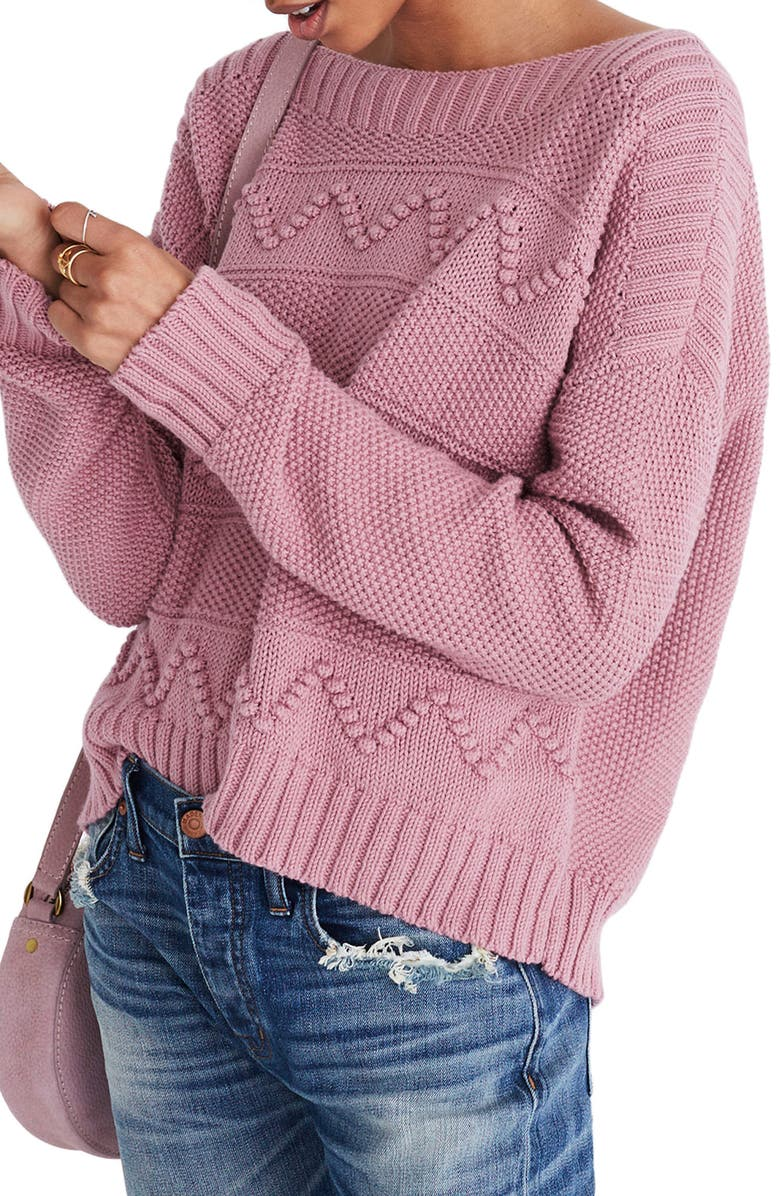 MADEWELL Zigzag Stitch Pullover Sweater, Main, color, 650