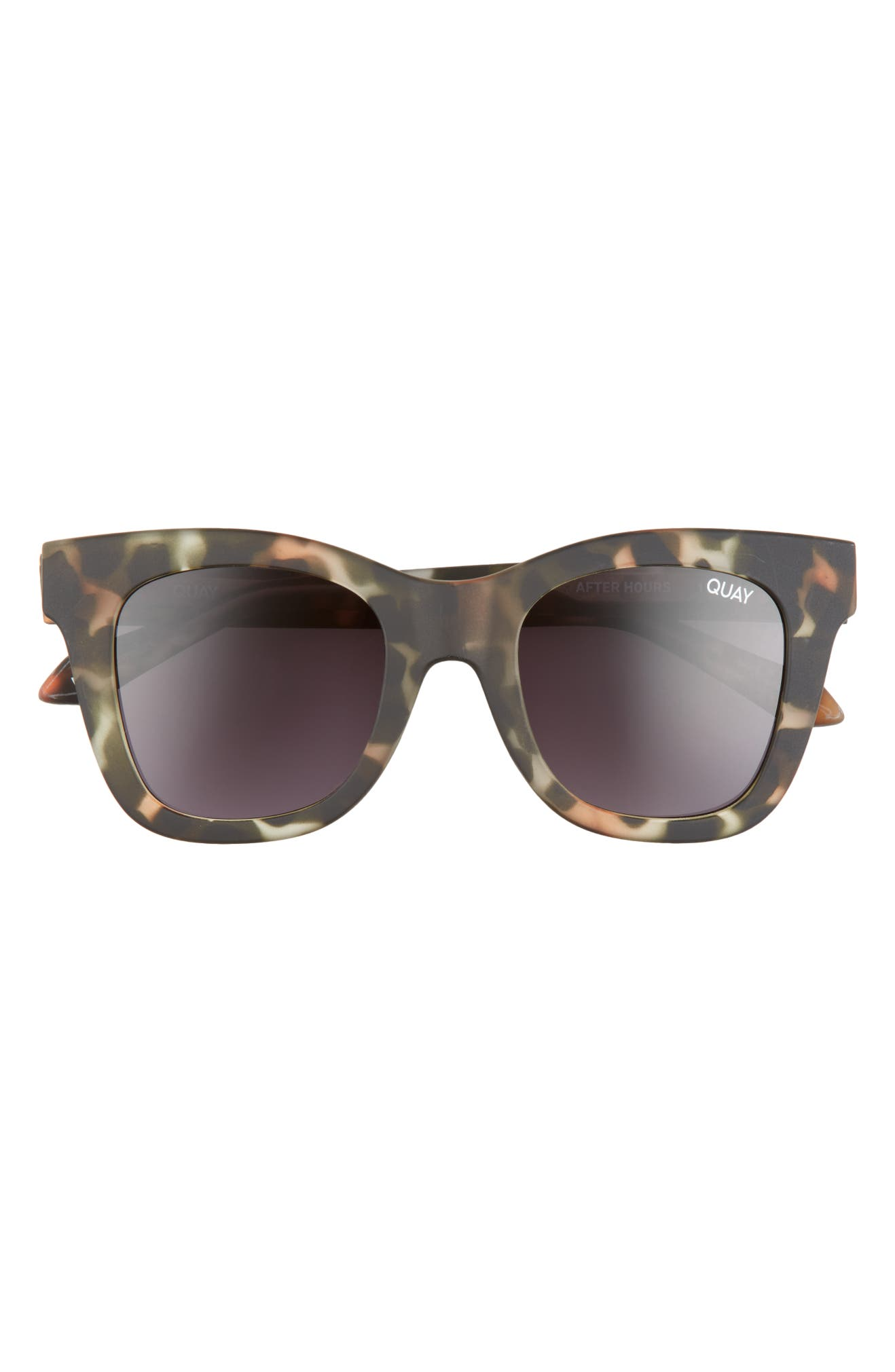 QUAY AUSTRALIA After Hours 50mm Square Sunglasses, Main, color, CAMO TORT / BLACK LENS