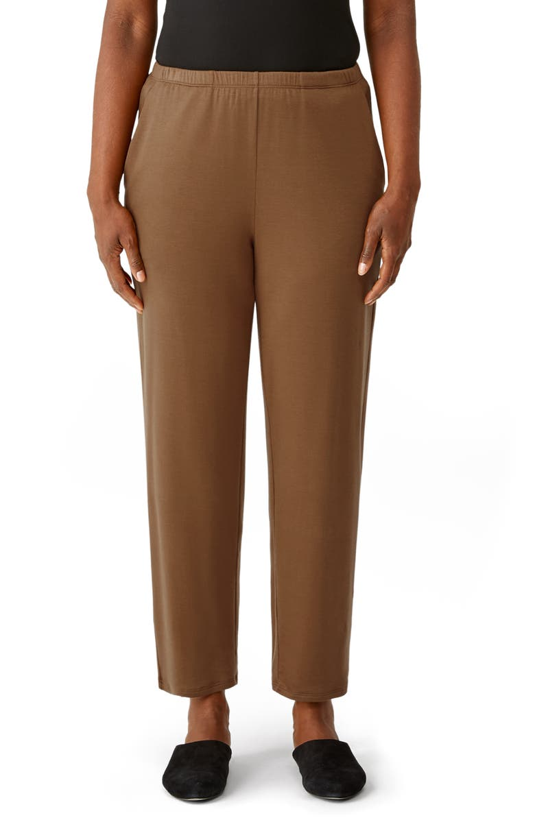 EILEEN FISHER Cozy Brushed Terry Tapered Ankle Pants, Main, color, HAZEL