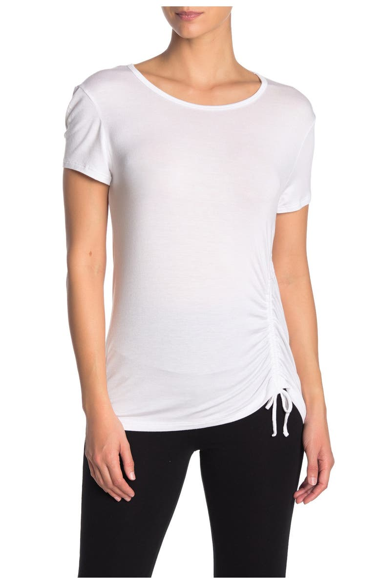 BEYOND YOGA Pull Strings Ruched Seam T-Shirt, Main, color, WHT