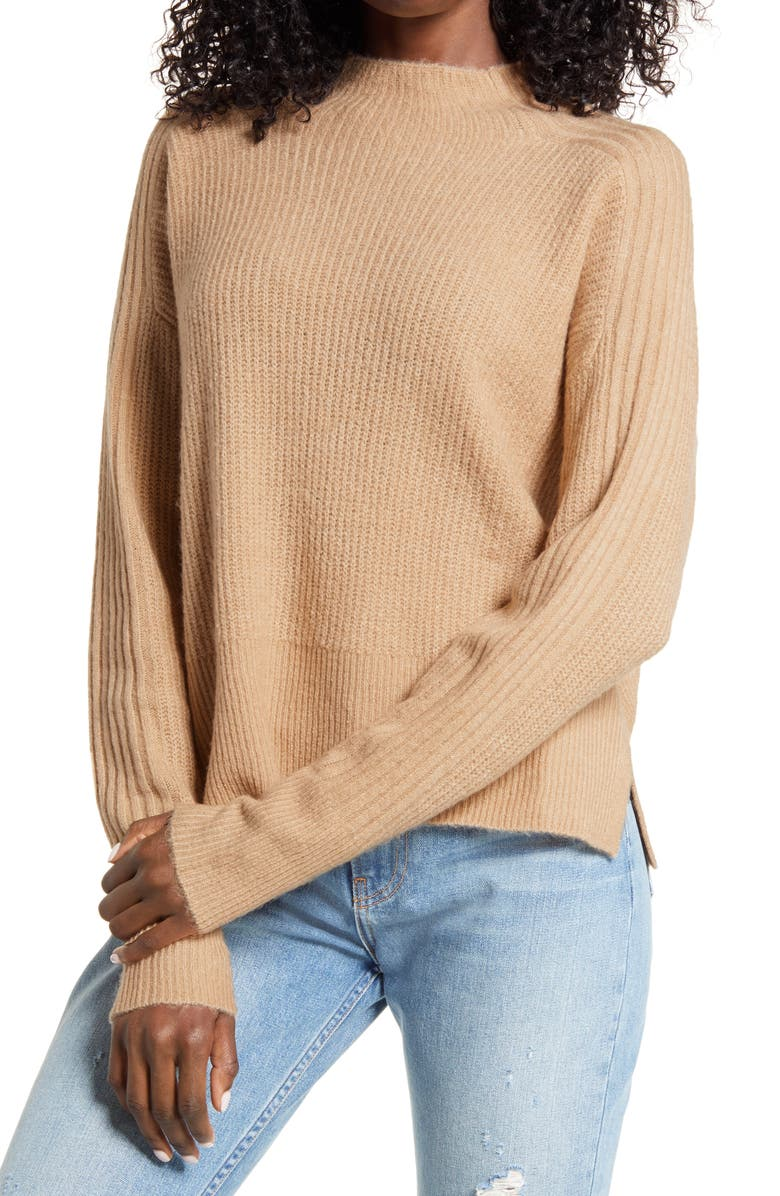 ALL IN FAVOR Funnel Neck Sweater, Main, color, CAMEL