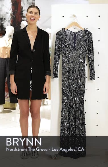 Beaded Long Sleeve Gown, sales video thumbnail