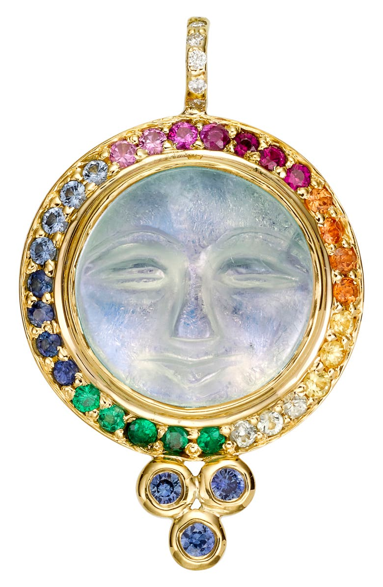 TEMPLE ST. CLAIR 18k Gold Moon Face Earrings, Main, color, 710