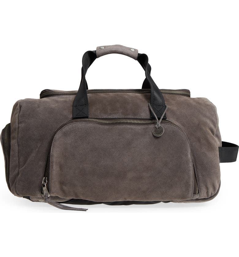 JOHN VARVATOS STAR USA John Varvatos Collection Brooklyn Suede Convertible Duffel Bag, Main, color, 009
