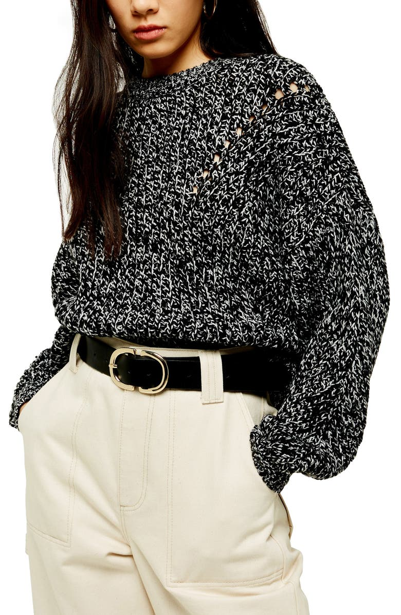 TOPSHOP Chunky Pointelle Sweater, Main, color, 001