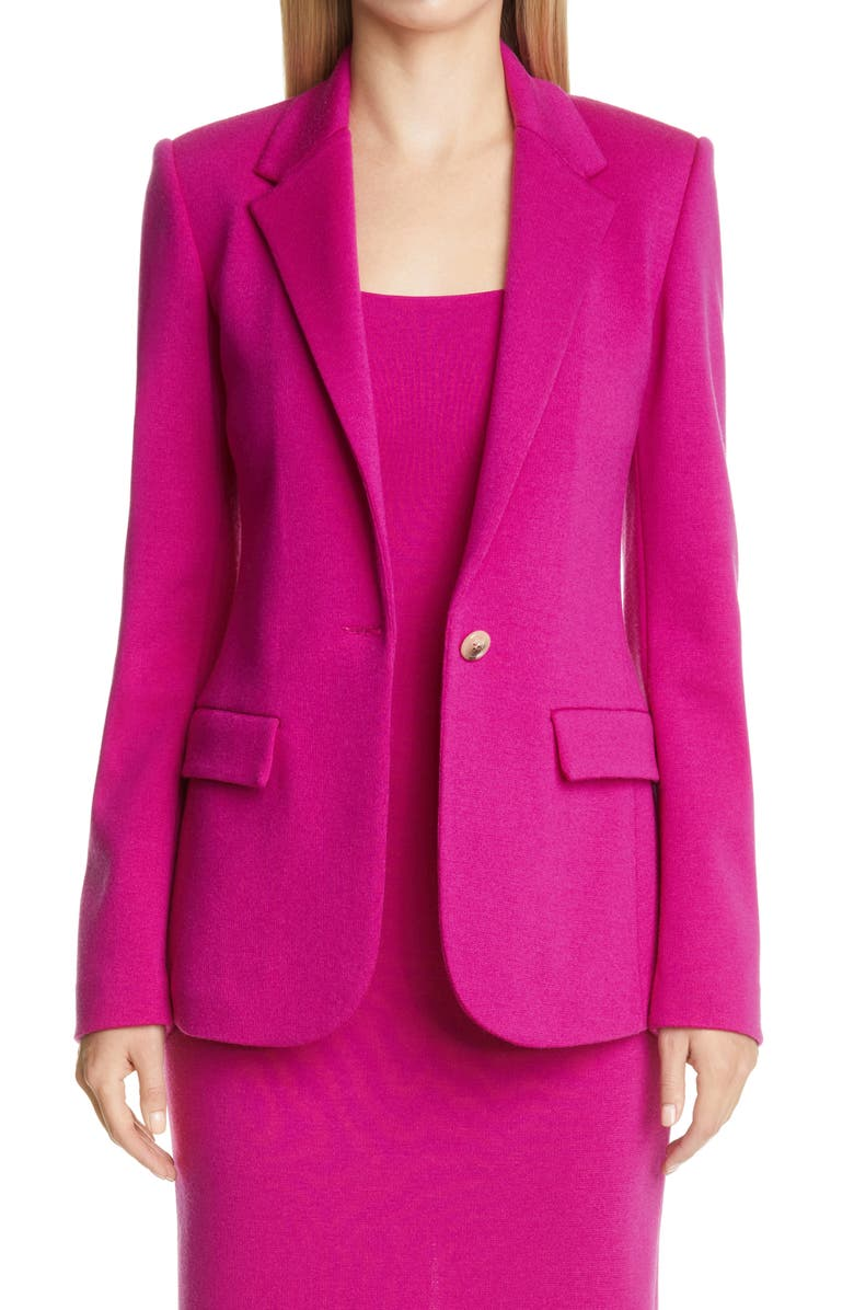 ST. JOHN COLLECTION Notch Collar Milano Knit Jacket, Main, color, ORCHID