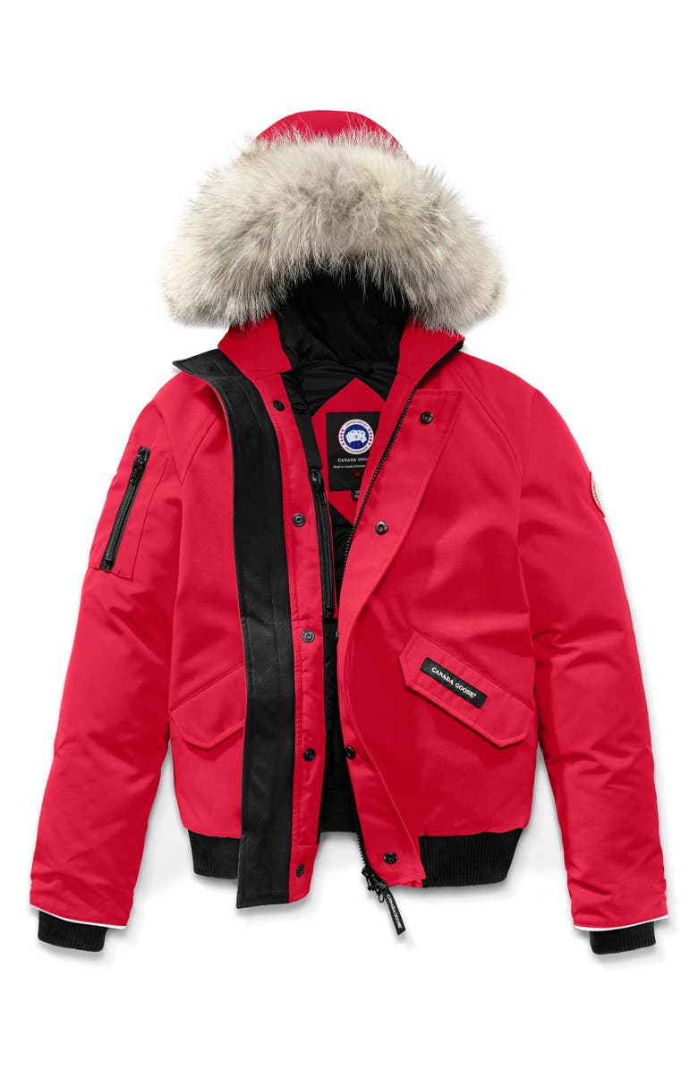 CANADA GOOSE 'Rundle' Down Bomber Jacket with Genuine Coyote Fur Trim, Main, color, RED