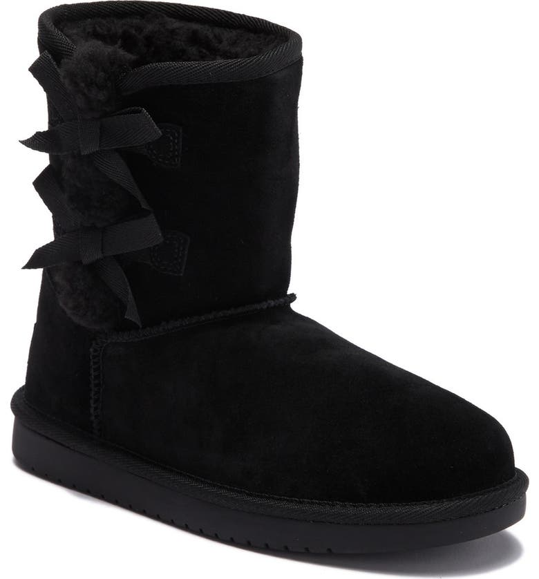 KOOLABURRA BY UGG Victoria Faux Shearling Lined Suede Short Boot, Main, color, BLK