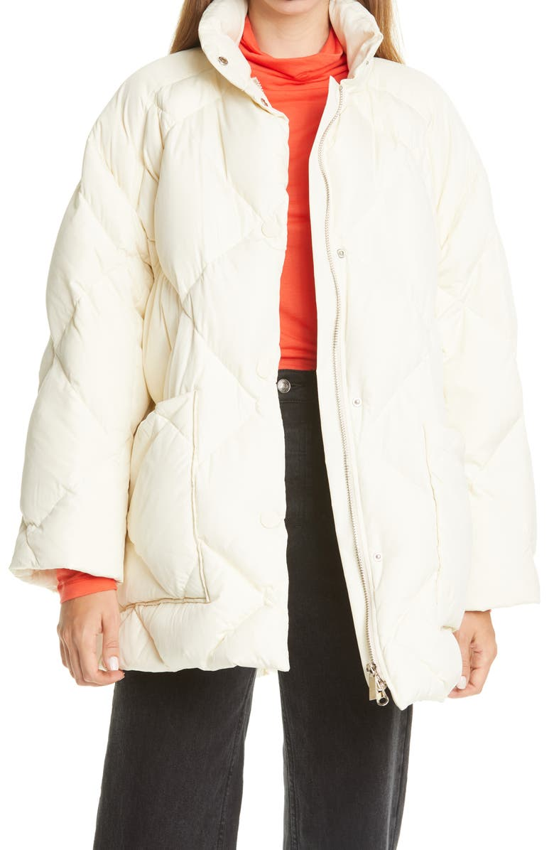RODEBJER Agita Quilted Coat, Main, color, 1014 CHALK WHITE