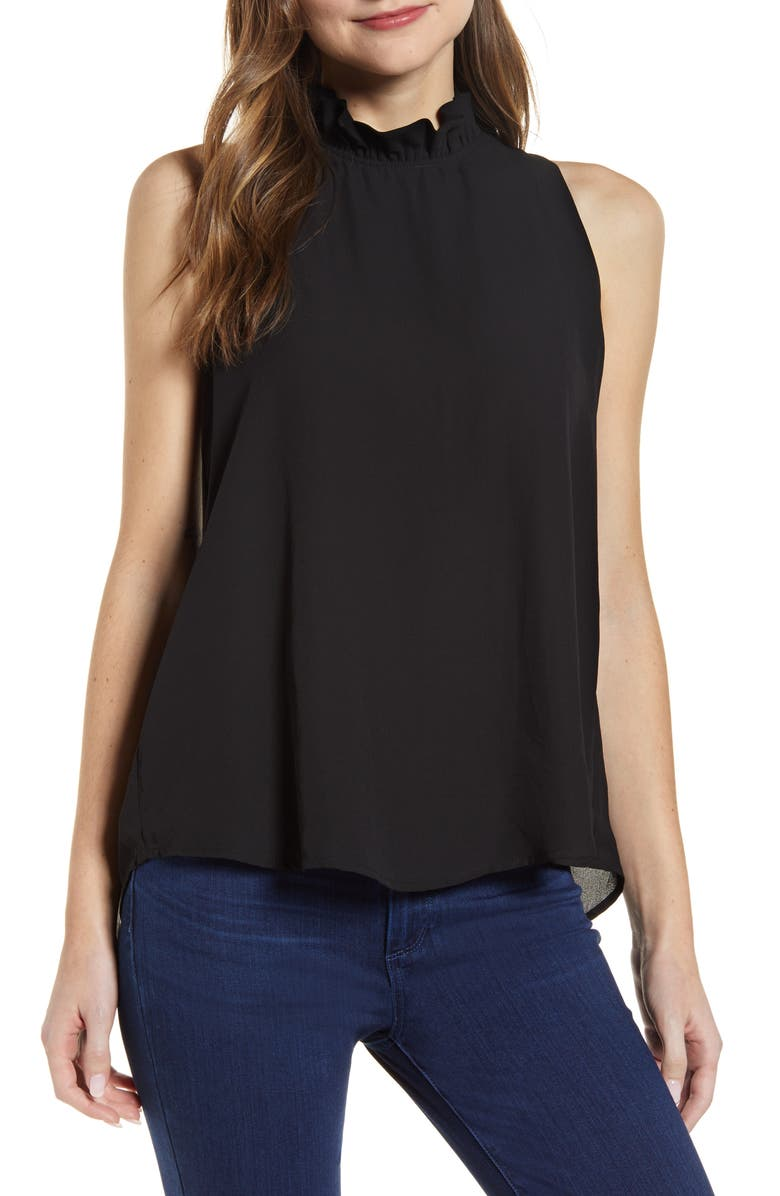 GIBSONLOOK Gibson Cavallo Ruffle Neck Back Tie Tank, Main, color, 001