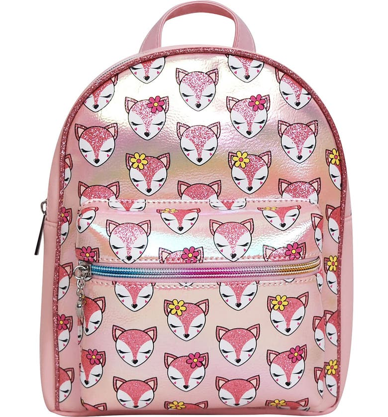OMG ACCESSORIES OMG Fox Print Mini Backpack, Main, color, PINK