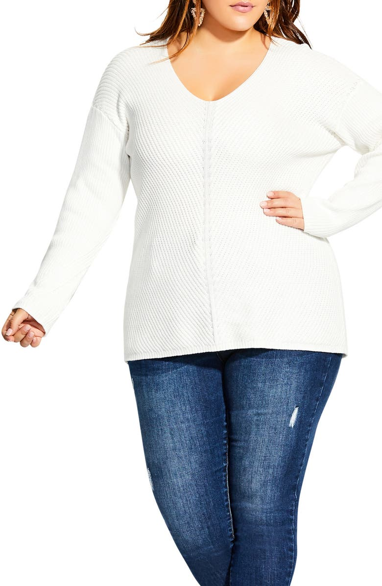 CITY CHIC V-Neck Sweater, Main, color, 109