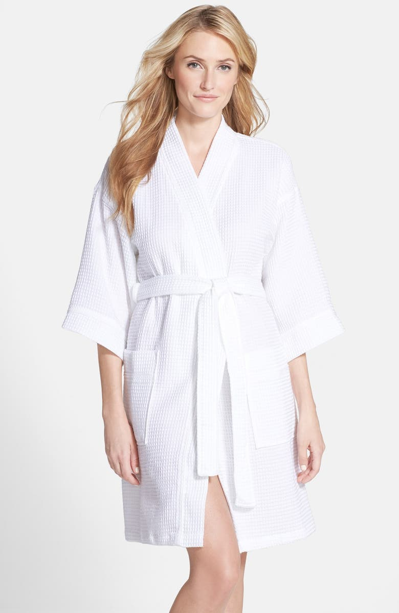 NORDSTROM Waffle Cotton Robe, Main, color, WHITE