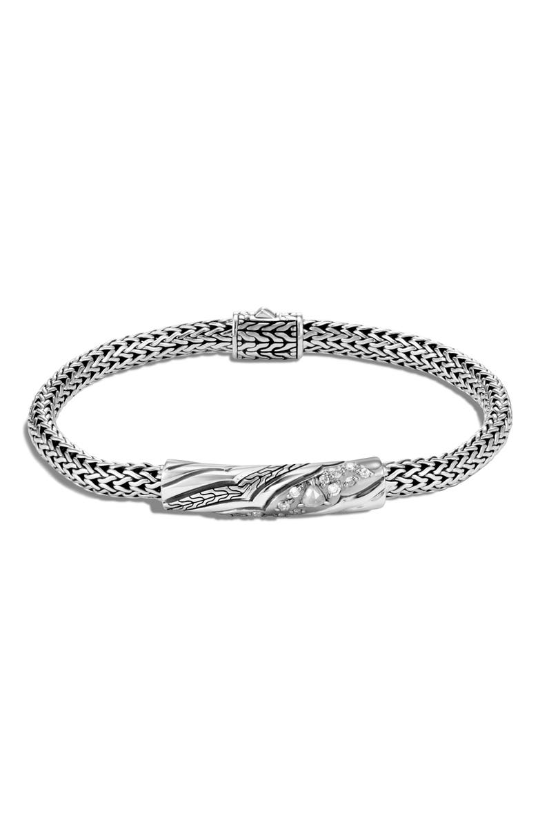 JOHN HARDY Lahar Extra Small Chain 5mm Diamond Station Bracelet, Main, color, SILVER/ DIAMOND