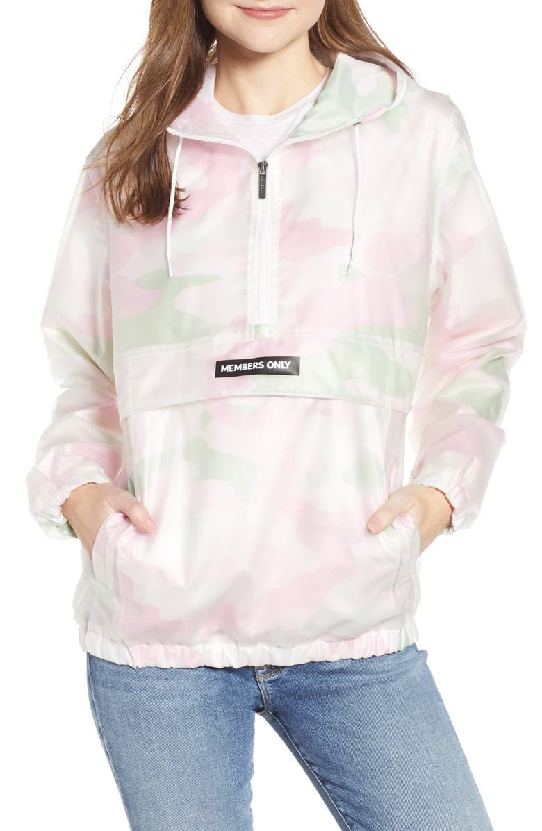 MEMBERS ONLY Camo Translucent Popover Jacket, Main, color, 312