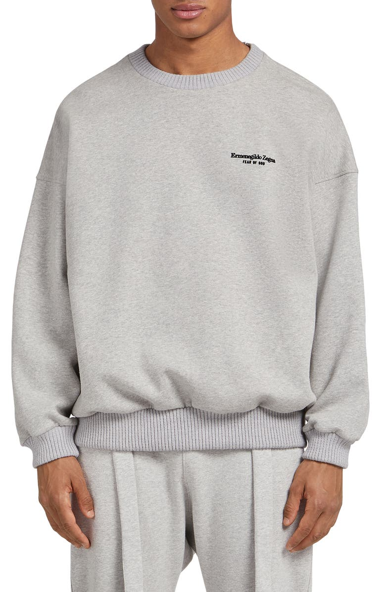 FEAR OF GOD X ERMENEGILDO ZEGNA Fear of God x Zegna Flocked Logo Oversize Sweatshirt, Main, color, 020