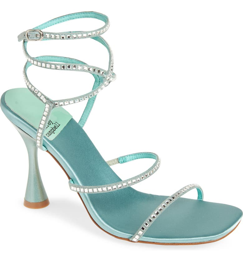 JEFFREY CAMPBELL Glamorous Sandal, Main, color, TURQUOISE SATIN SILVER