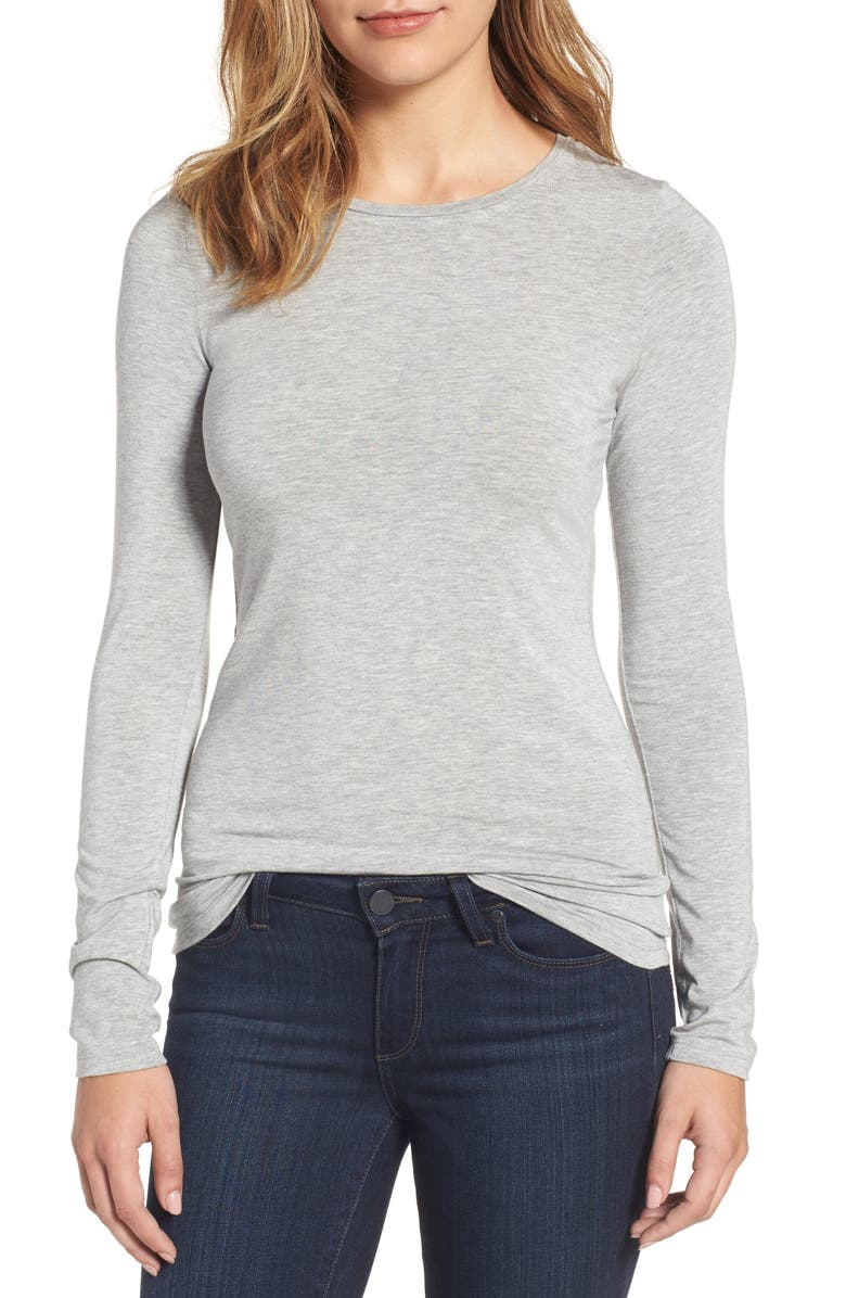 HALOGEN<SUP>®</SUP> Long Sleeve Modal Blend Tee, Main, color, GREY HEATHER