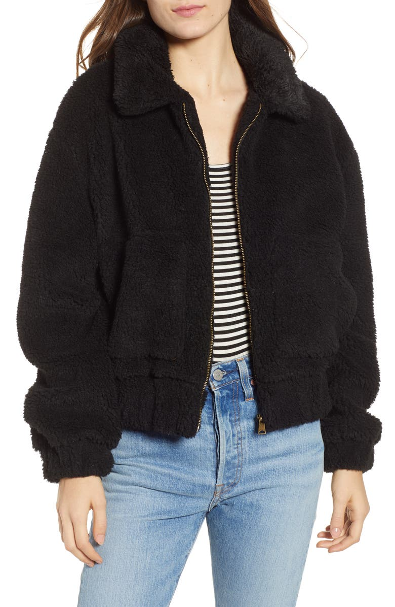 THREAD & SUPPLY Northy Faux Fur Jacket, Main, color, 001
