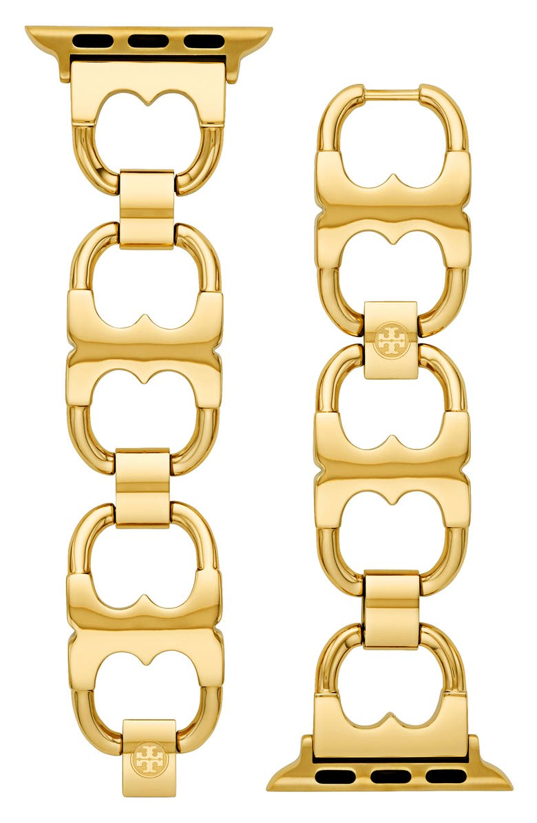 TORY BURCH Double-T Link Band for Apple Watch<sup>®</sup>, 38mm/40mm, Main, color, GOLD