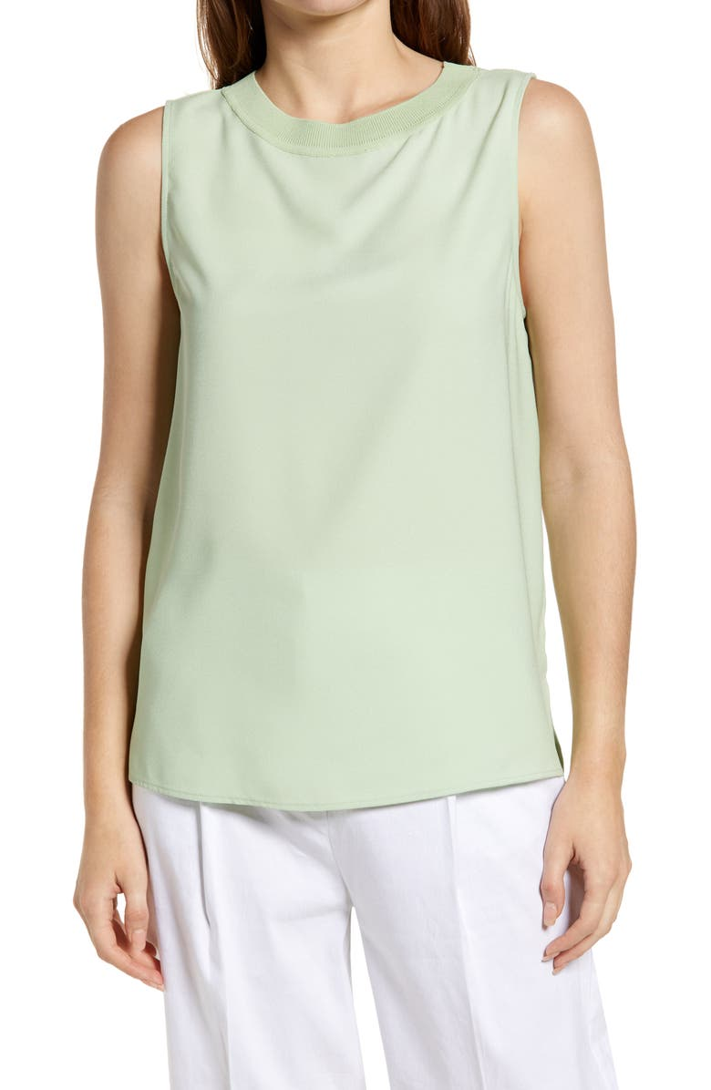 NORDSTROM Pleat Back Sleeveless Woven Top, Main, color, GREEN GHOST