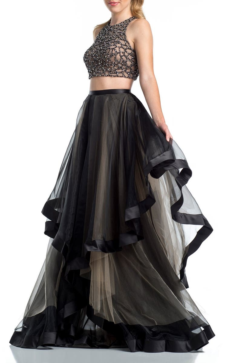 GLAMOUR BY TERANI COUTURE Beaded Top & Organza Two-Piece Ballgown, Main, color, 004