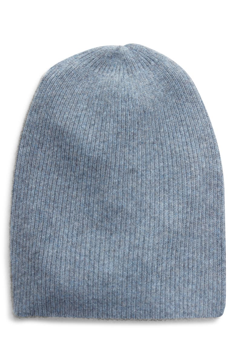 HALOGEN<SUP>®</SUP> Ribbed Cashmere Beanie, Main, color, BLUE SHADOW HEATHER