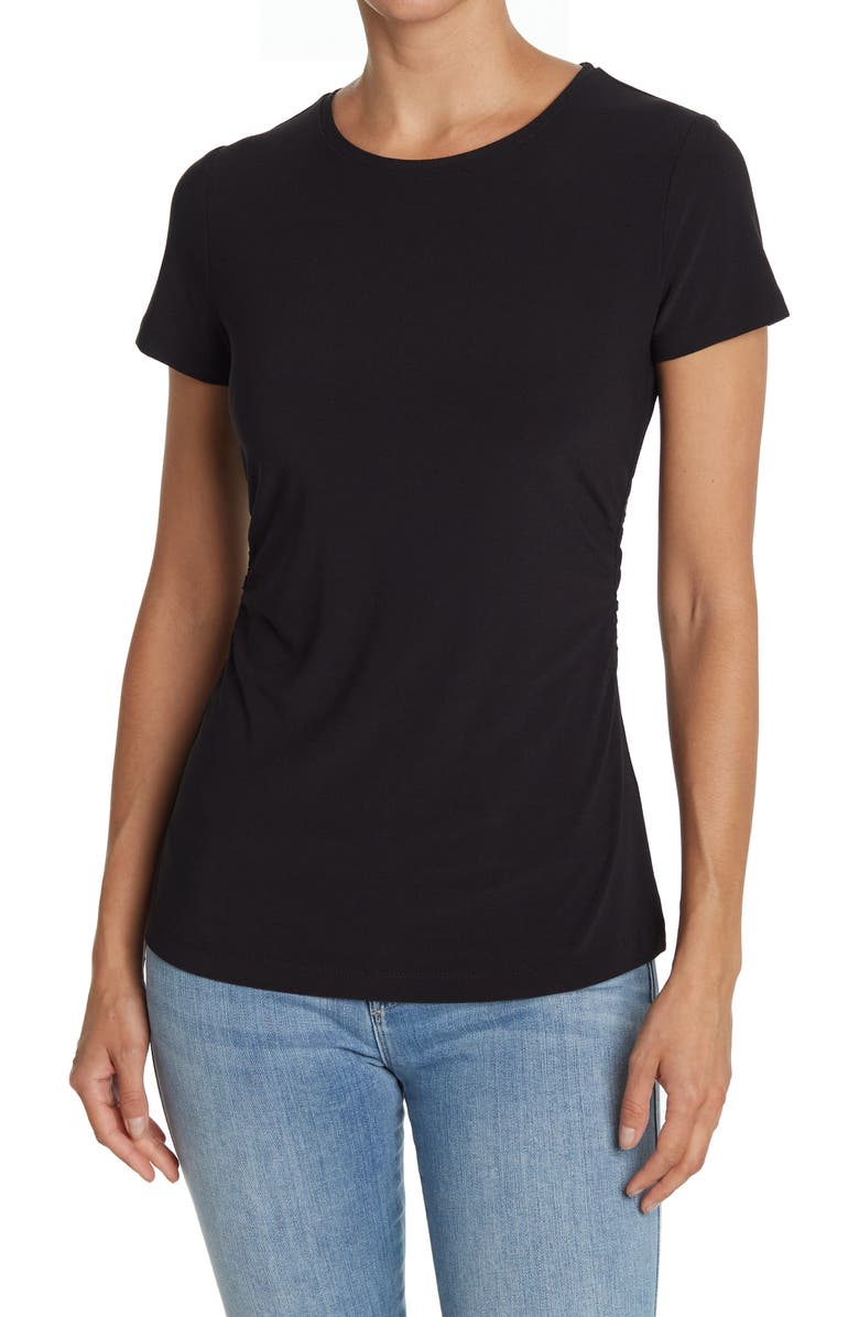 14TH AND UNION Ruched Side T-Shirt, Main, color, BLACK