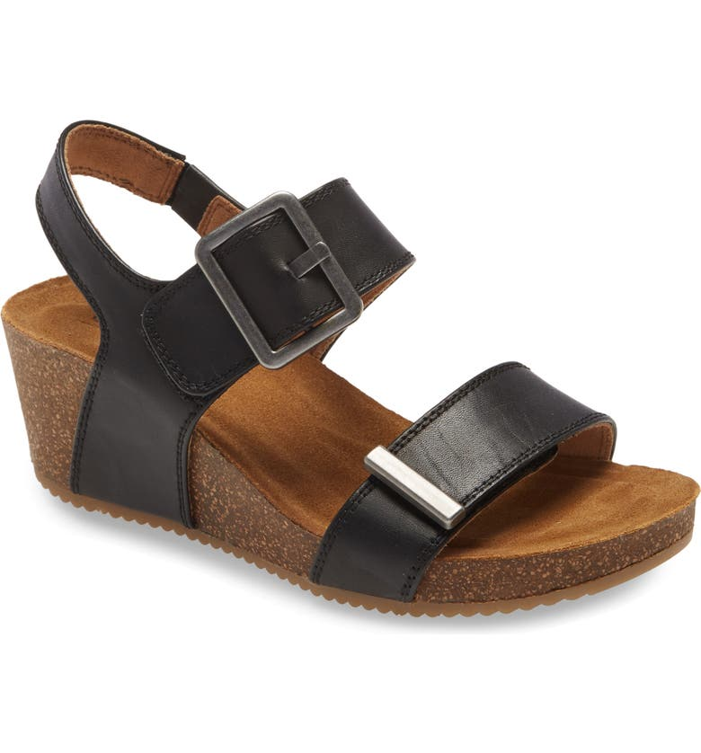 COMFORTIVA Emberly Wedge Sandal, Main, color, BLACK LEATHER