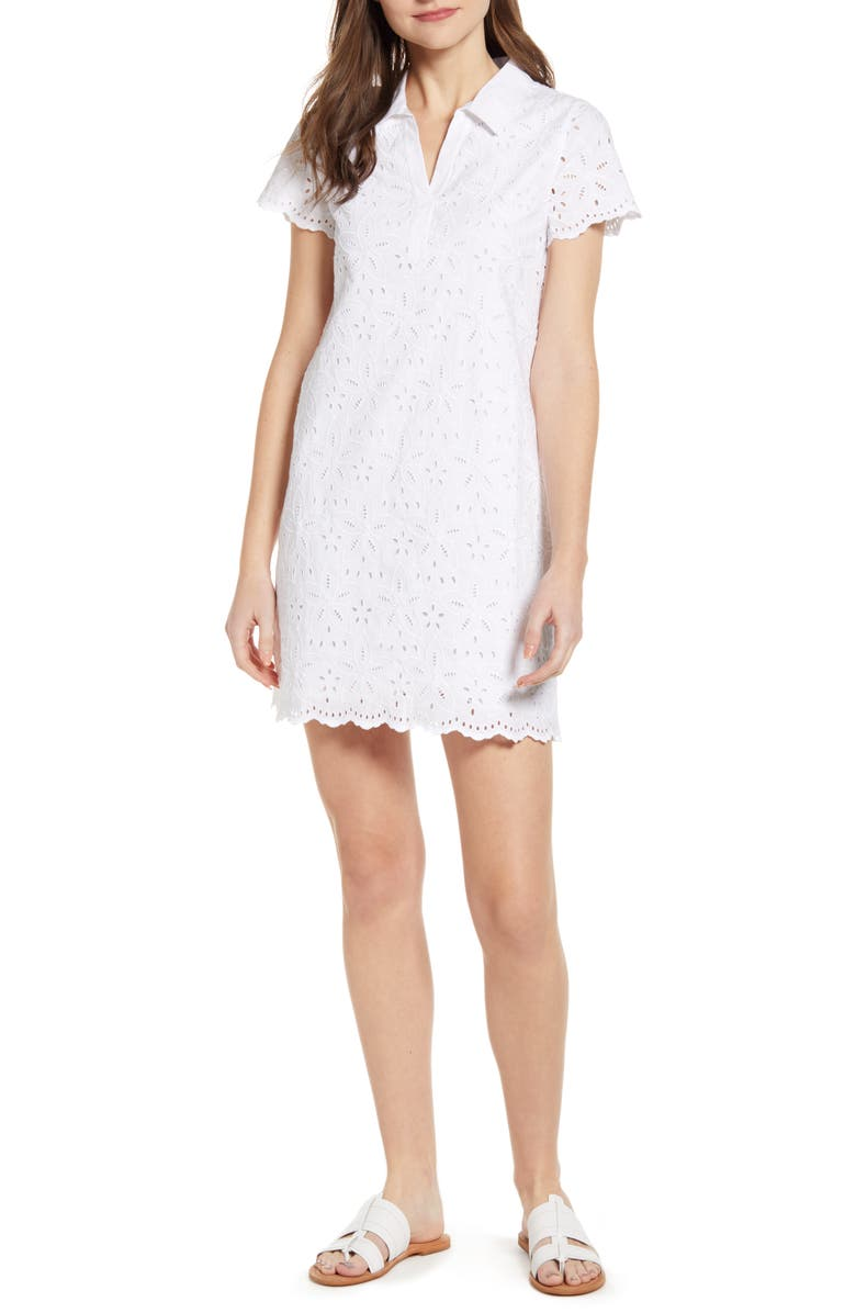 VINEYARD VINES Margo Cotton Eyelet Shirtdress, Main, color, 100