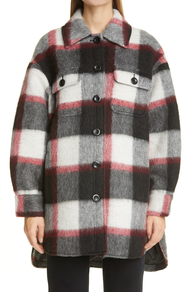 STAND STUDIO Sabi Check High/Low Wool Blend Jacket, Main, color, CHECK
