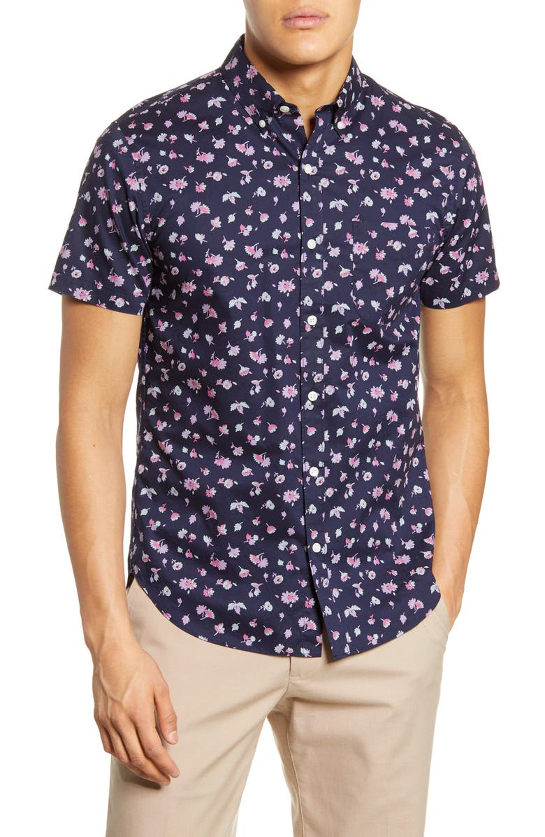 BONOBOS Riviera Slim Fit Floral Short Sleeve Button-Down Shirt, Main, color, 400