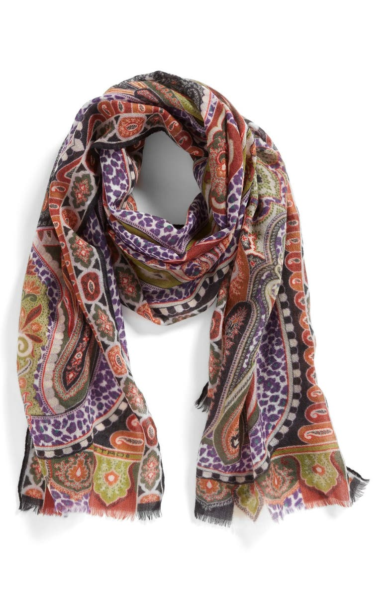 ETRO 'Dhely - Paisley Cheetah' Cashmere Scarf, Main, color, Black