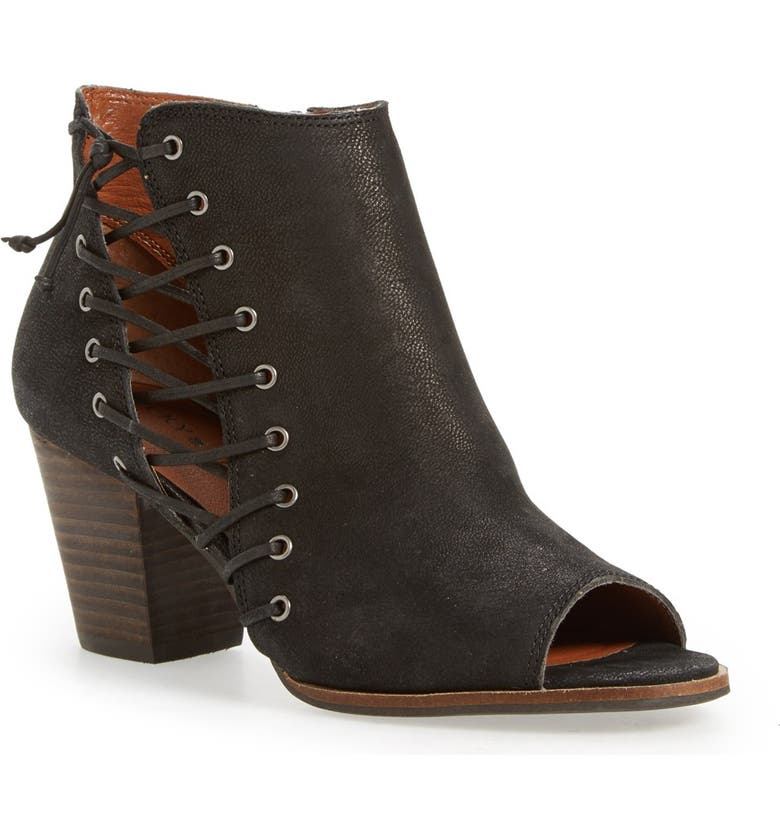 LUCKY BRAND 'Hartlee' Open Toe Bootie, Main, color, BLACK LEATHER