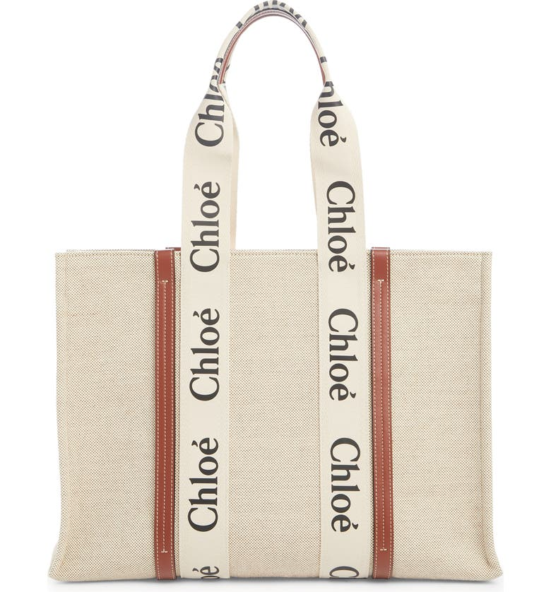 CHLOÉ Large Woody Logo Strap Canvas Tote, Main, color, WHITE-BROWN