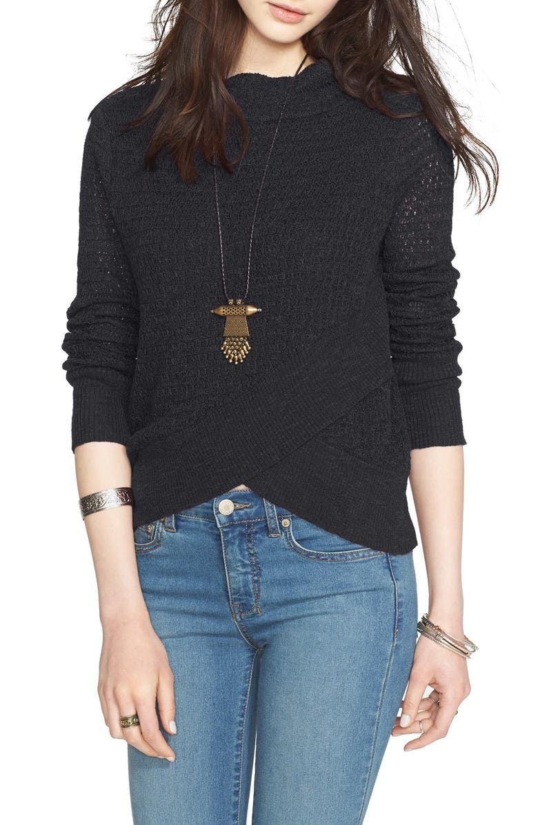 FREE PEOPLE Crossover Sweater, Main, color, BLACK