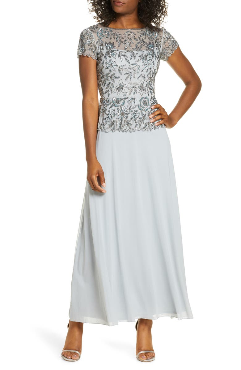 PISARRO NIGHTS Beaded Mesh Mock Two-Piece Gown, Main, color, ICE