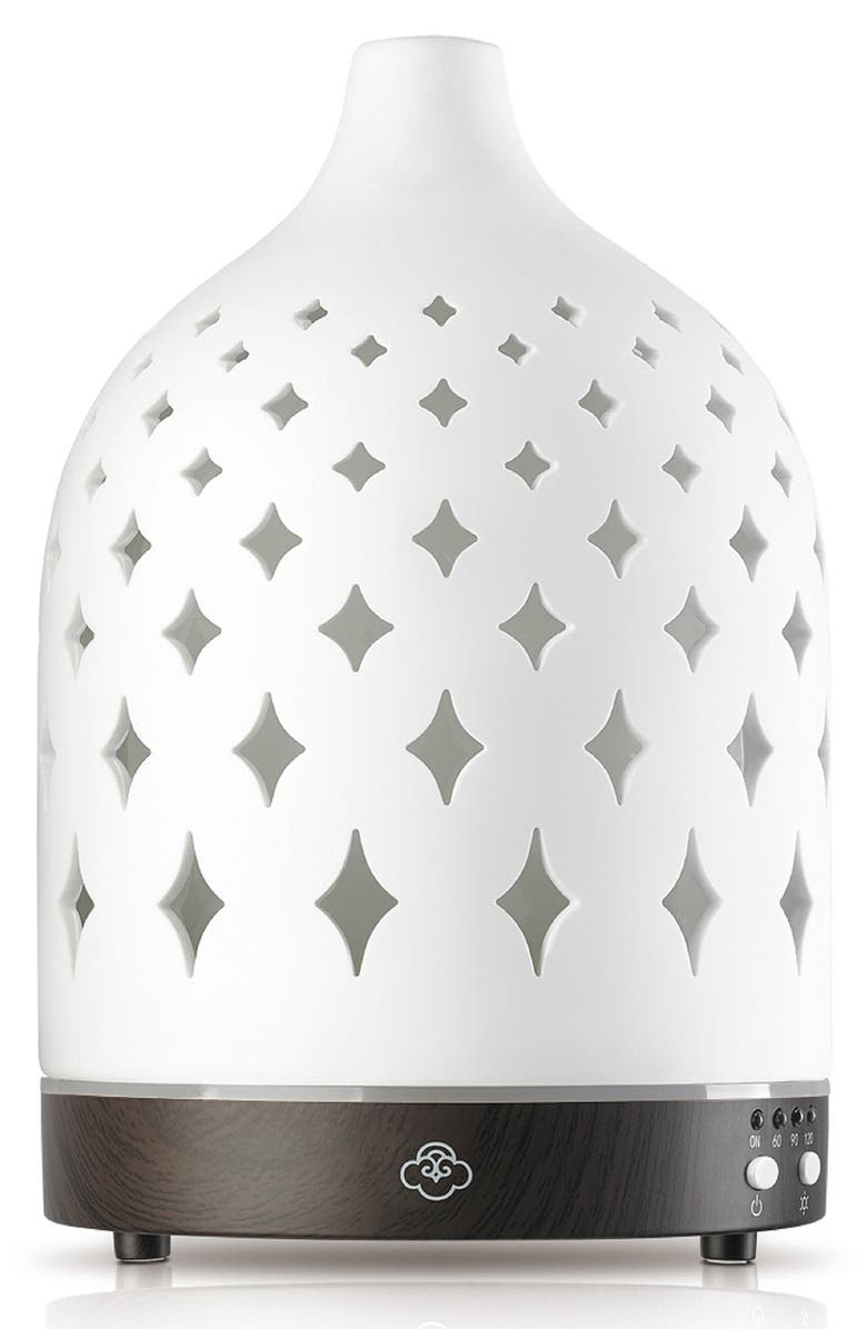 SERENE HOUSE Supernova Electric Aromatherapy Diffuser, Main, color, WHITE/DK WOOD