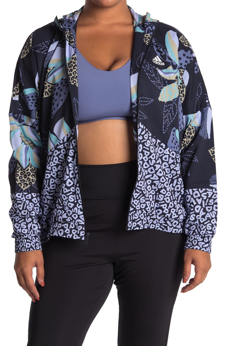 ADIDAS Farm Rio Print Relaxed Lightweight Windbreaker, Main, color, LEGEND INK/WHITE