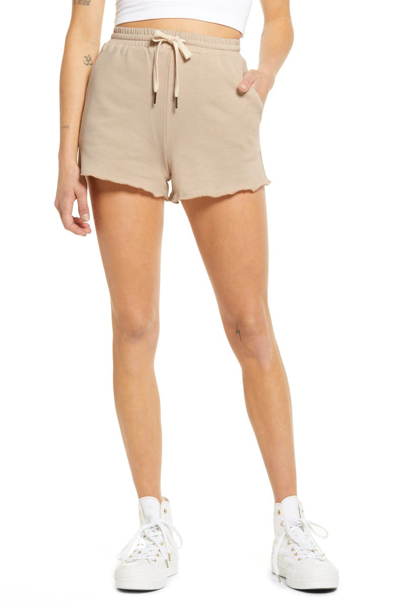 LA LA LAND CREATIVE CO Raw Hem Cotton Fleece Shorts, Main, color, MUSHROOM