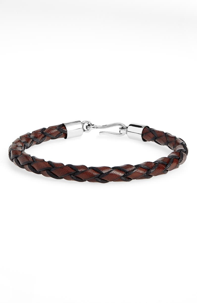 CAPUTO & CO. Braided Leather Bracelet, Main, color, BROWN