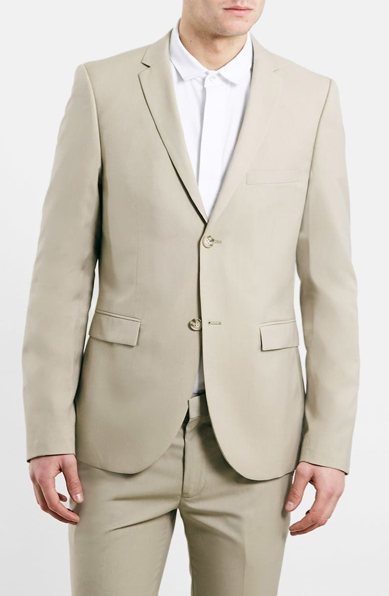 TOPMAN Camel Ultra Skinny Suit Jacket, Main, color, 252