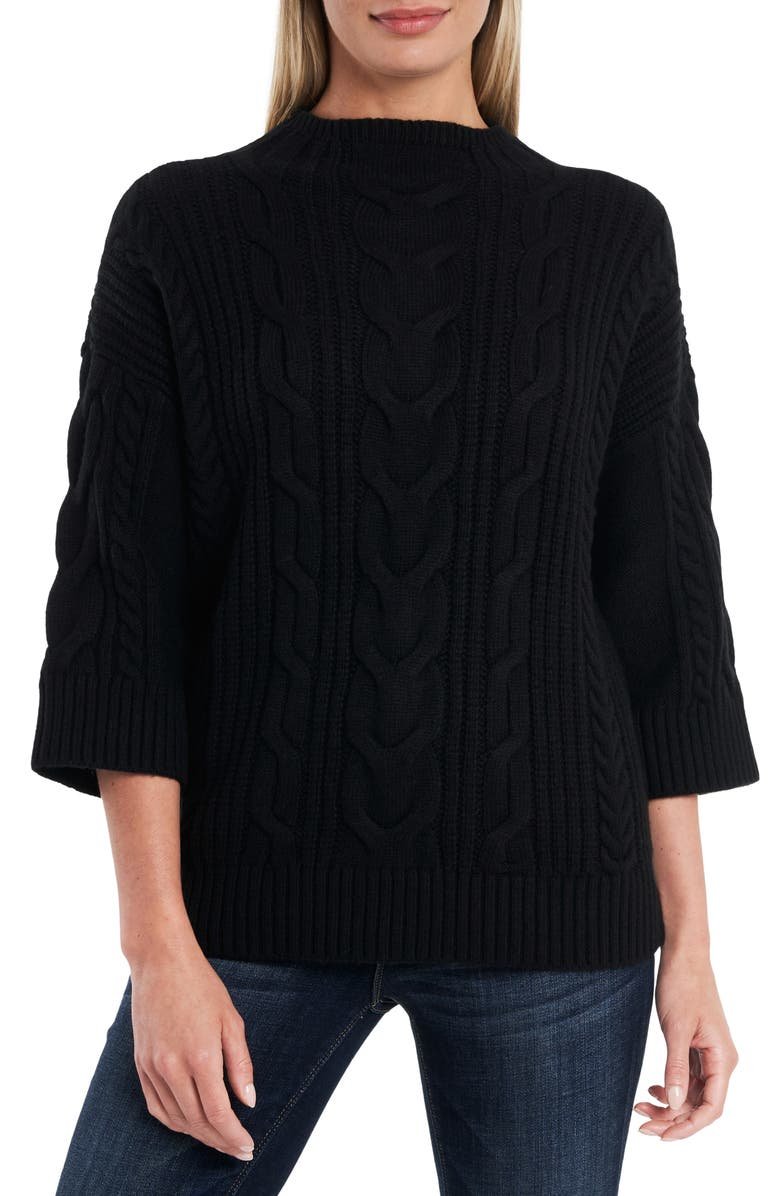 VINCE CAMUTO Cable Stitch Sweater, Main, color, 001