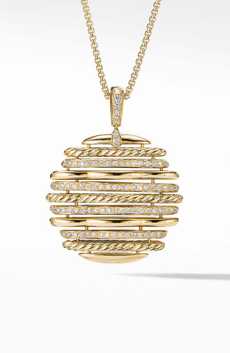 DAVID YURMAN Tides Pendant Necklace in 18K Yellow Gold with Diamonds, Main, color, GOLD/ DIAMOND
