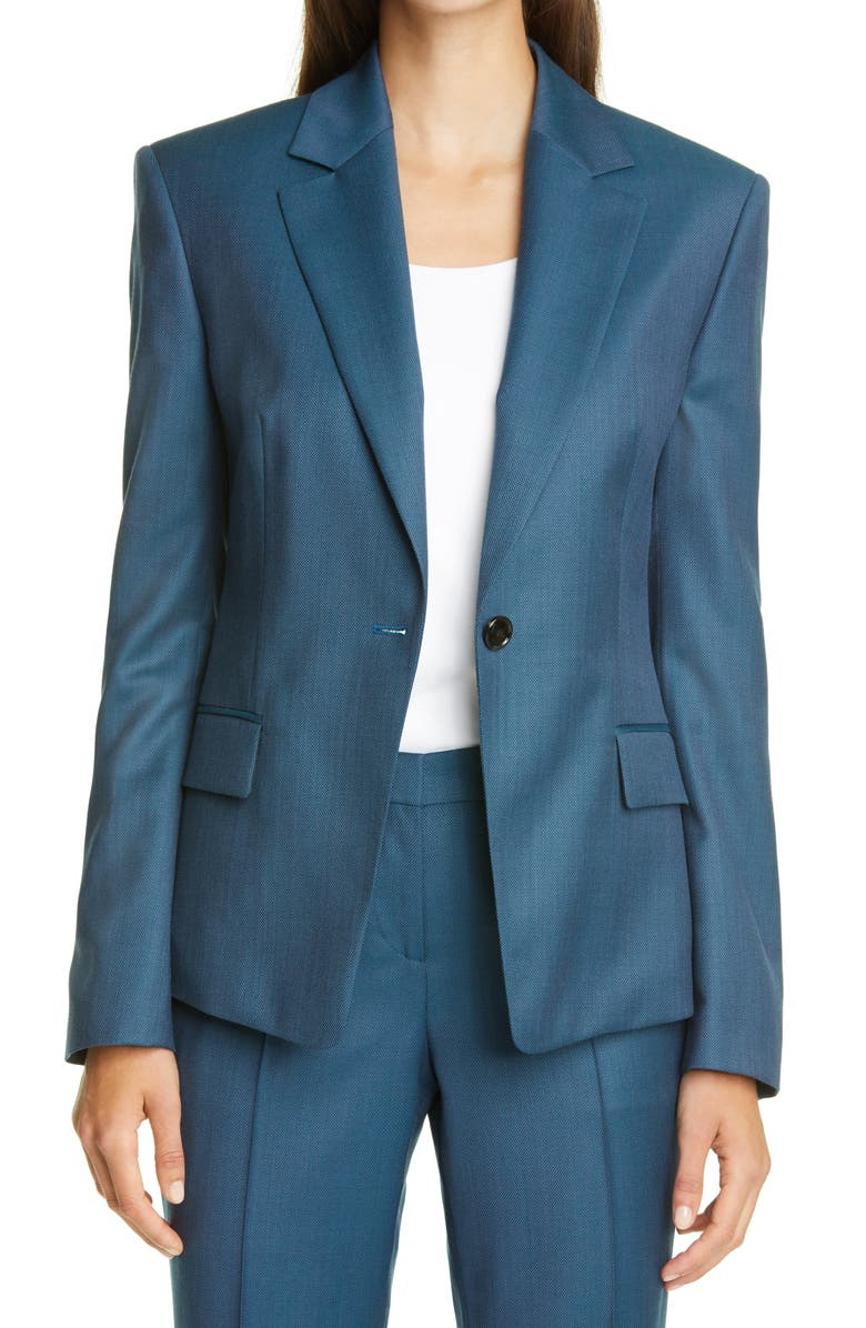 BOSS Janera Wool Blazer, Main, color, BLUE JADE FANTASY