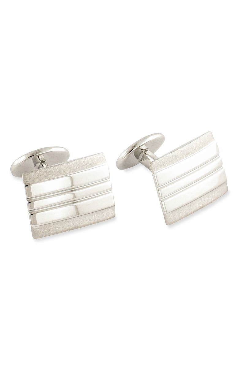 DAVID DONAHUE Sterling Silver Cuff Links, Main, color, SILVER RECTANGLE